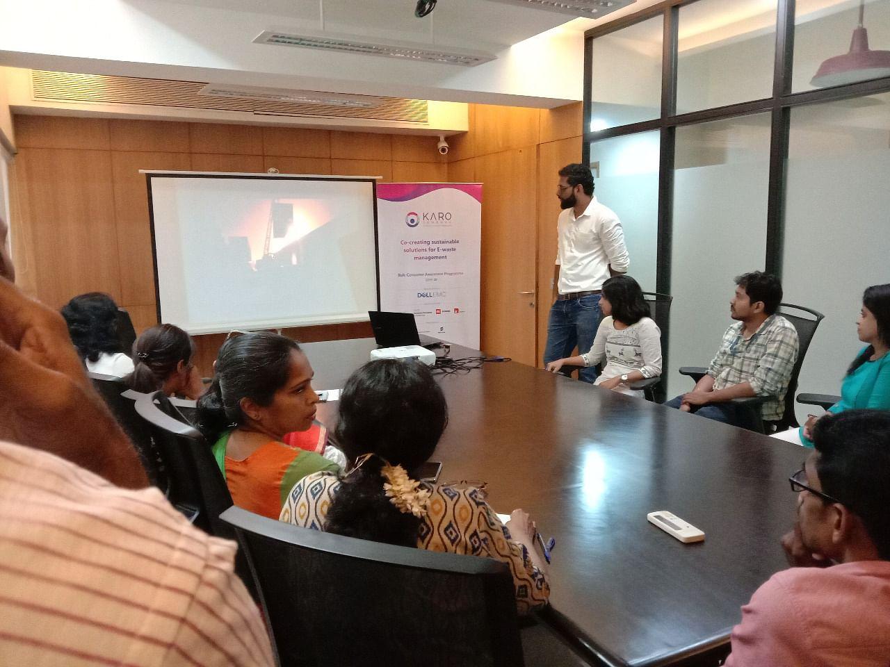 Raising awareness about e-waste in various offices. (Source: Karo Sambhav)