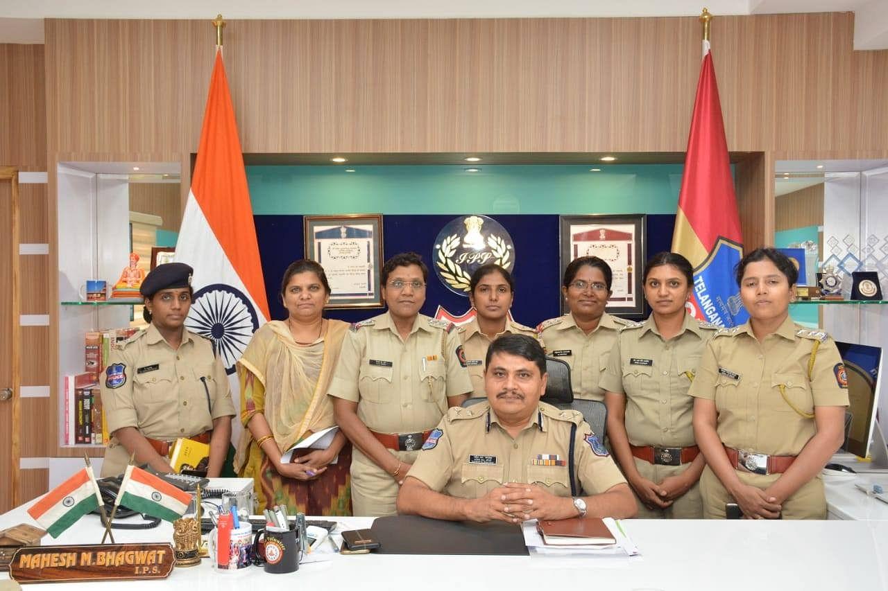 Commissioner Mahesh Bhagwat with SHE Team personnel. (Source: Rachakonda Police)