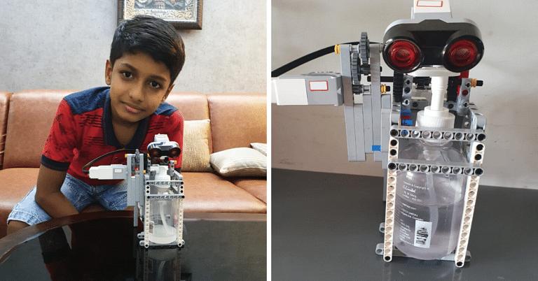 #CoronaWarrior: This 10-YO Kerala Kid Has Built A Mini Hand Sanitizing Robot!