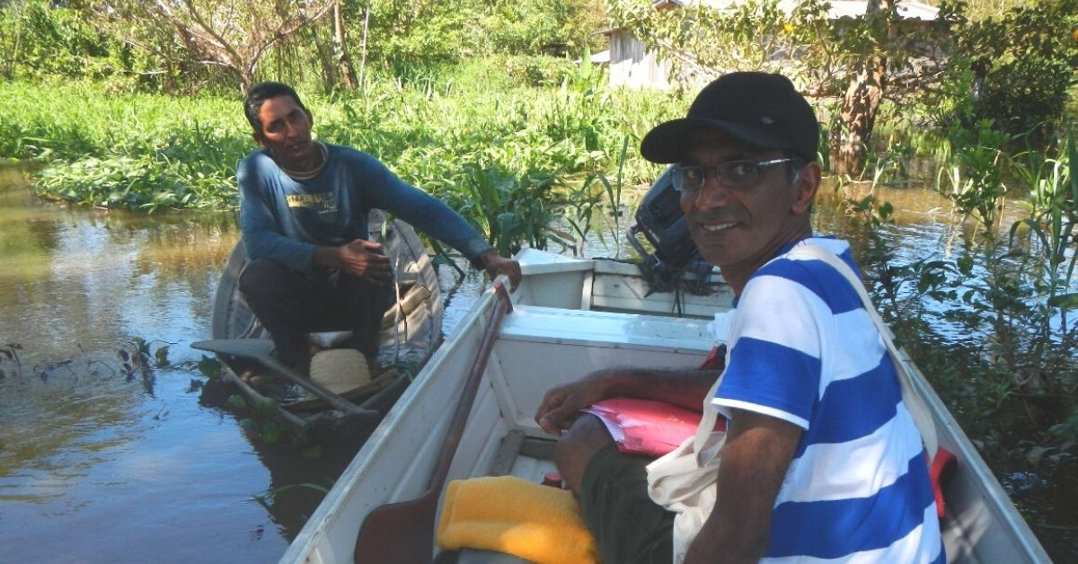 indian man on amazon river